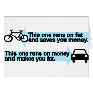 Funny Bike versus Car Greeting Card