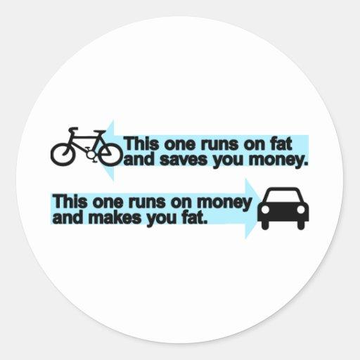 Funny Bike versus Car Round Sticker