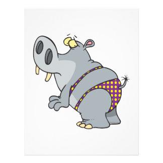 funny bikini hippo cartoon character flyers