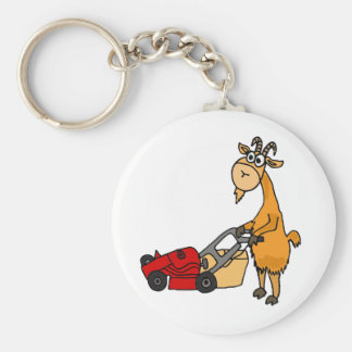 Funny Billy Goat Pushing Lawn Mower Cartoon Basic Round Button Key Ring