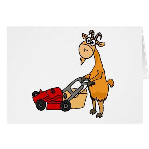 Funny Billy Goat Pushing Lawn Mower Cartoon Card