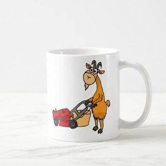 Funny Billy Goat Pushing Lawn Mower Cartoon Coffee Mug