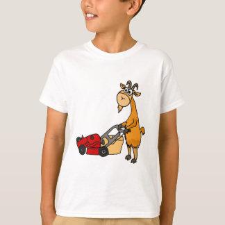 Funny Billy Goat Pushing Lawn Mower Cartoon T-Shirt