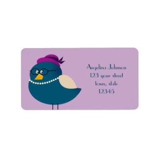 Funny Bird Retro Fashion Cute Cartoon with Glasses Label