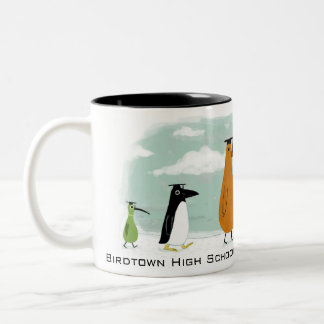 Funny Birds Graduation Procession with Custom Text Coffee Mug