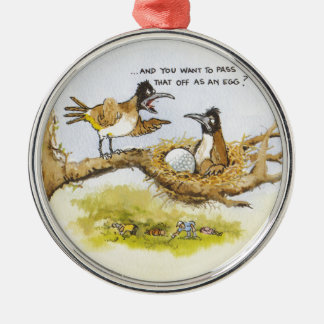 Funny Birds in Tree Silver-Colored Round Decoration
