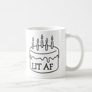 Funny birthday cake candles lit af bestselling coffee mug