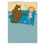 Funny Birthday Card, Bear with Pointy Stick