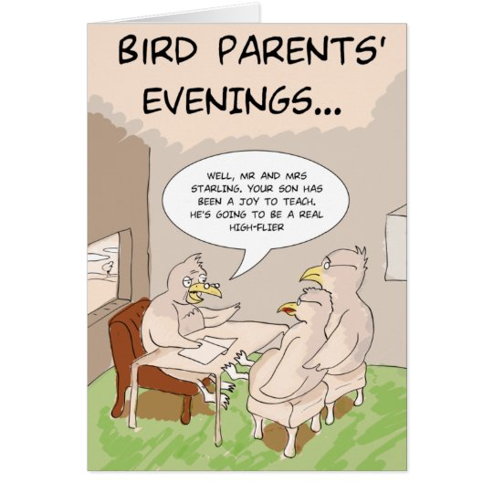 Funny Birthday Card: Bird Parents' Evening Card