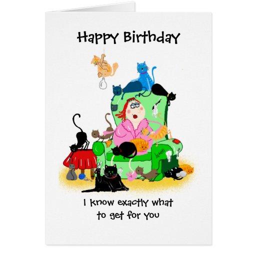 Funny Birthday card- catlady and cats cartoon
