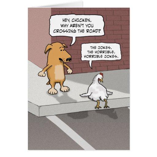 Funny birthday card: Dog and Chicken