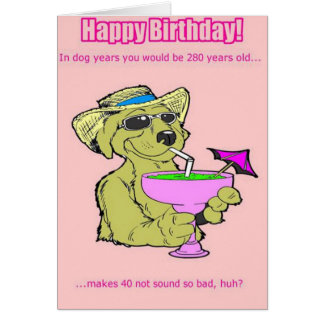 Funny Birthday Card: Dog Years Card