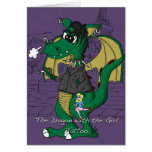 Funny Birthday Card - Dragon with the Girl Tattoo