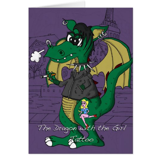 Funny Birthday Card - Dragon with the Girl