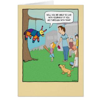Funny birthday card: Girl vs. Pinata Greeting Card