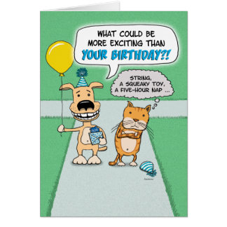 Funny birthday card: Happy Dog and Grumpy Cat Greeting Card
