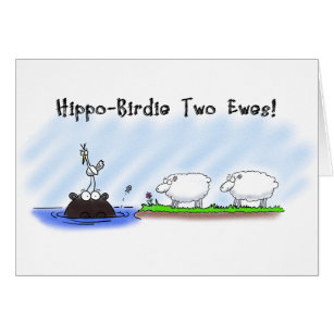 Funny hippo birthday cards invitations zazzle funny birthday card hippo birdie two ewes card bookmarktalkfo Image collections