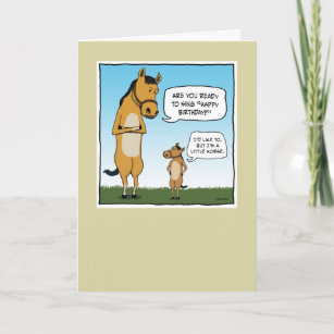 Funny Birthday Card Little Horse