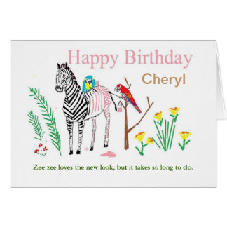 Funny birthday card, personalize for her. greeting card