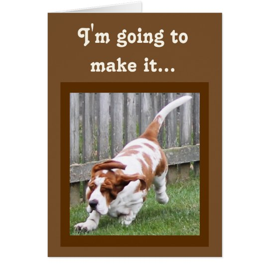 Funny Birthday Card w/Cute Running Basset and Cake