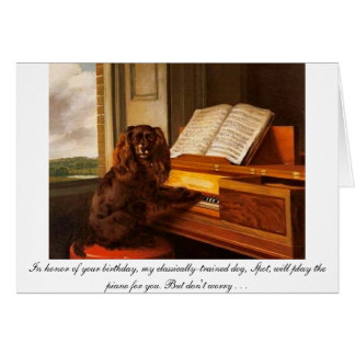 Funny birthday card with dog and piano