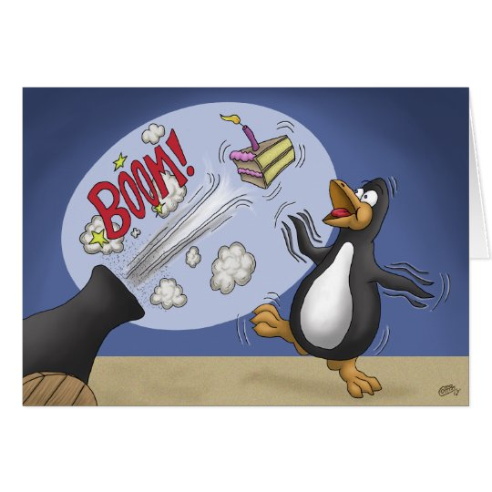 Funny Birthday Cards: Penguin Cake Cannon Card