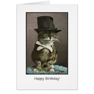 Funny Birthday Cat in Hat Greeting Card