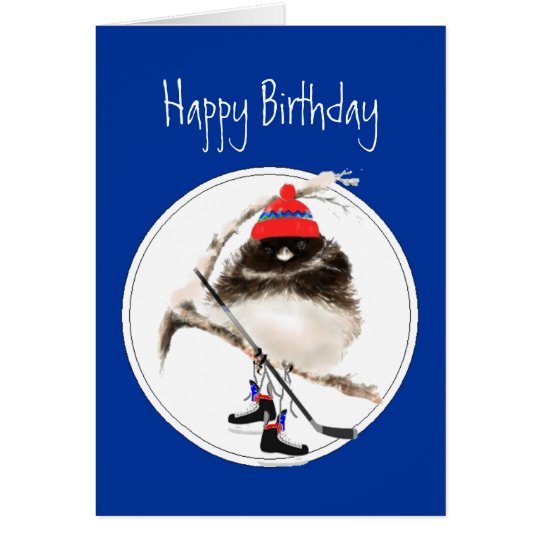 Funny Birthday Champion Ice Hockey Sport Bird Card