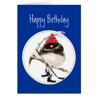 Funny Birthday Champion Ice Hockey Sport Bird Greeting Card