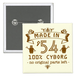 Funny Birthday Cyborg with Customizable Year 15 Cm Square Badge