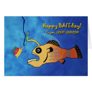 Funny Birthday for Great-Grandpa, Anglerfish Greeting Card