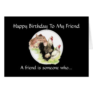 Funny Birthday Friend - Farm Chicken Scene Card