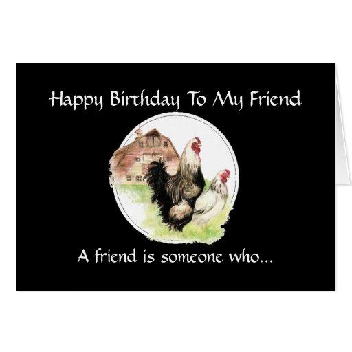 Funny Birthday Friend - Farm Chicken Scene Greeting Card