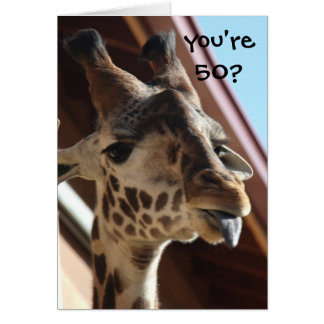 Funny Birthday Giraffe, Old, 50th Card