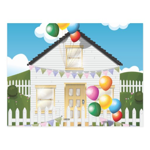 Funny Birthday House with Baloons Postcard