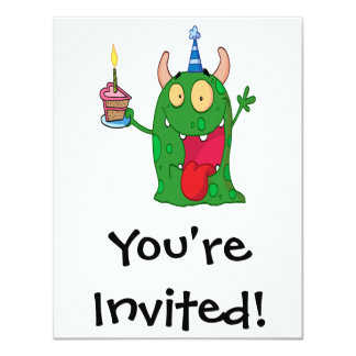funny birthday monster cartoon character announcement