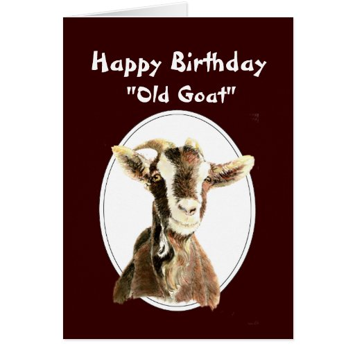 Happy Over The Hill Birthday Birthday Humor Dog Card: Funny Birthday Over The Hill Old Goat Humour Greeting Card