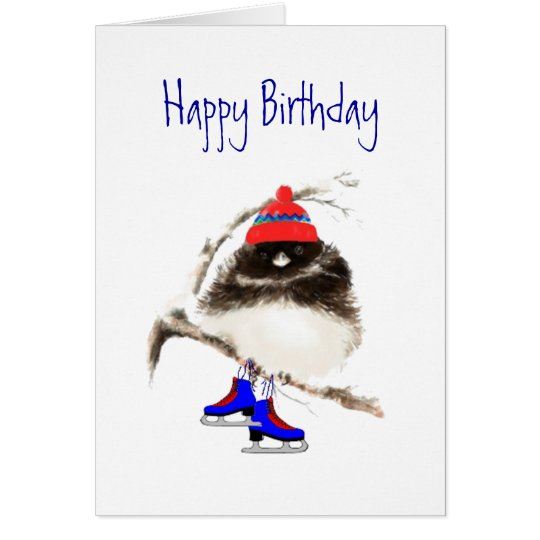 Funny Birthday to Skating Chick, Cute Sport Bird Card