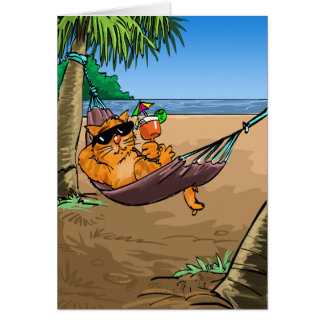 Funny Birthday Wishes - Cool Cat on Hammock Greeting Card