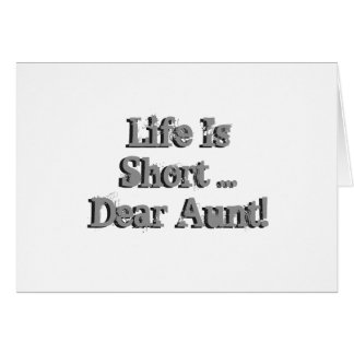 Funny birthday Wishes for aunt, black on silver. Greeting Card