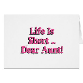 Funny birthday Wishes for aunt, pink on white. Greeting Card