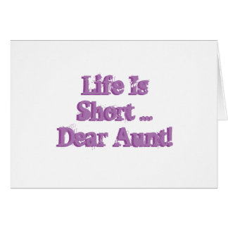 Funny birthday Wishes for aunt, purple on white. Greeting Card