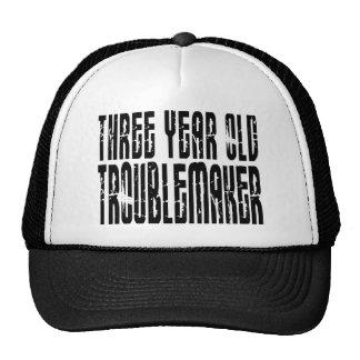 Funny Birthdays : Three Year Old Troublemaker Trucker Hat