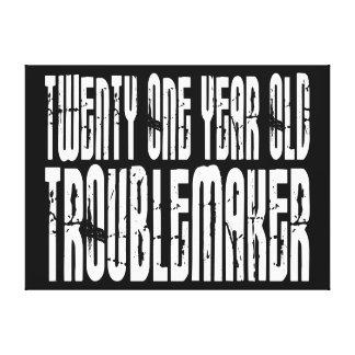 Funny Birthdays : Twenty One Year Old Troublemaker Canvas Print