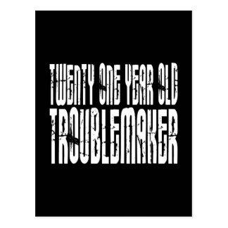 Funny Birthdays : Twenty One Year Old Troublemaker Postcard