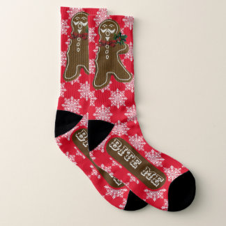 """Funny """"Bite Me"""" Gingerbread Men and Snowflakes 1"""