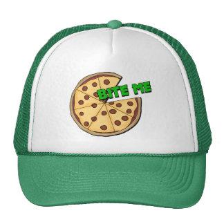 Funny Bite Me Pizza Trucker Hats