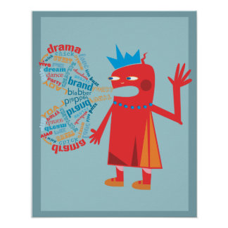 Funny Blabber Cartoon Characters Poster