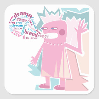Funny Blabber Pink Character Sticker