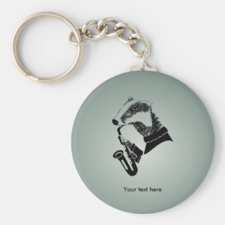 Funny Black and White Badger Saxophone Key Ring